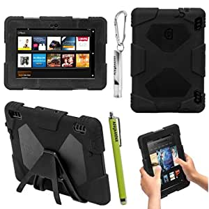 ACEGUARDER Military-Duty Series For Amazon Kindle Fire HDX 7'' Rainproof Snowproof Dirtproof Shockproof Cover Case With Stand Designed For Home or Kids Use ,Outdoor Sports, Travel, You will Be Glad To Get The Gifts (Outdoor Carabiner + Whistle + Stylus Pen) (Amazon Kindle Fire HDX 7'', Black)