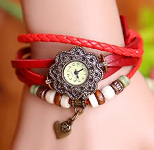 Towallmark 1PC Red Fashion Weave Heart Pendant Leather Bracelet Wrist Watch