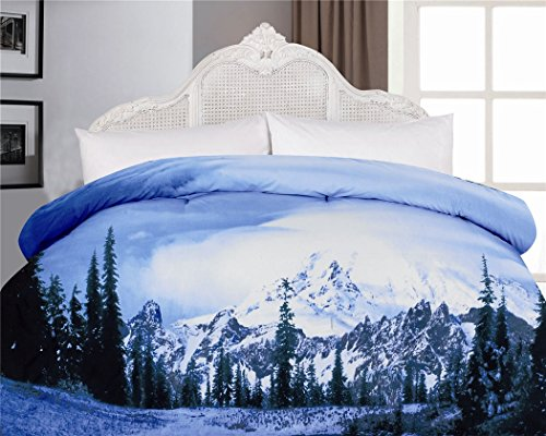 1-Piece Pine Tree Snow Mountain Printed Microfiber Comforter Full Size