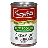 Campbell's Low Sodium Cream of Mushroom Soup, 10.5-Ounce Cans (Pack of 12)
