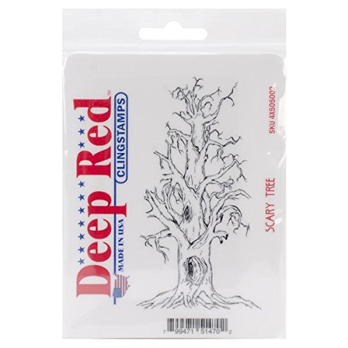 Deep Red Stamps Scary Tree Rubber Stamp - 1