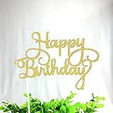 Lautechco ケーキデコレーション 用品 誕生日装飾 ケーキ挿入カード (HAPPY BIRTHDAYの文字) ケーキトッパー 10個セット (ゴールド)