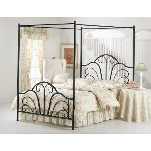 Cool Hillsdale Furniture BQP Dover Bed Set with Canopy and Legs Queen Textured Black