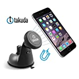 Takuda Magnet Universal Car Phone Windshield Dashboard Mount Holder, Magnetic Phone Mount for iPhone 6 Apple Samsung HTC LG Sony Huawei with Free Gift - Anti Slip Mat