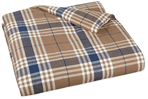 Great Deal! AmazonBasics Yarn-Dyed Lightweight Flannel Duvet Cover - King, Brown Plaid