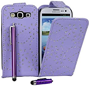 Connect Zone® Purple Diamond PU Leather Flip Skin Case Cover Pouch For Samsung Galaxy S3 i9300 + Screen Protector + Polishing Cloth + Mini Touch Screen Stylus & Tall Touch Screen Stylus