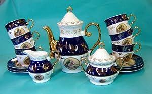 Italian Design Fine Porcelain Cobalt Blue Tea/coffee Set 17 Pc Service for 6 -- Cups and Saucers, Pot, Sugar and Creamer