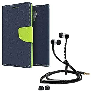 Aart Fancy Diary Card Wallet Flip Case Back Cover For Mircomax A102-(Blue) + Zipper earphones/Hands free With Mic *Stylish Design* for all Mobiles By Aart store