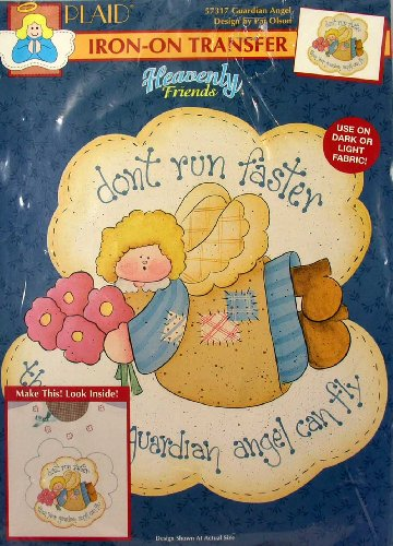 Plaid Iron-On Transfer Heavenly Friends #57317 Guardian Angel Design By Pat Olson front-60247