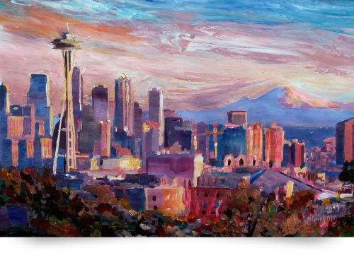 Seattle Skyline With Space Needle And Mt Rainier (Giclee Art Print), M Bleichner front-974237
