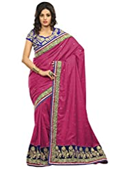 Alethia Pink Manipuri Silk Casual Heavy Embroidery Sarees With Unstitched Blouse