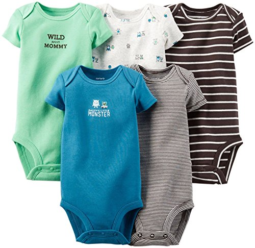 Carter's Baby Boys' 5 Pack Monster Bodysuits (Baby) - Brown - Newborn