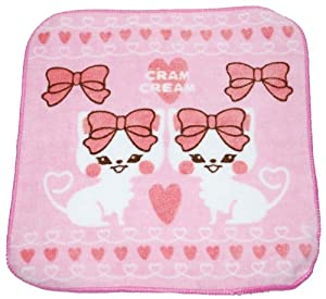 Cram Cream 100% Cotton Super Kawaii Wash Cloth Designed In Japan -- 10 Styles To Choose From!!, Ribbon Cats