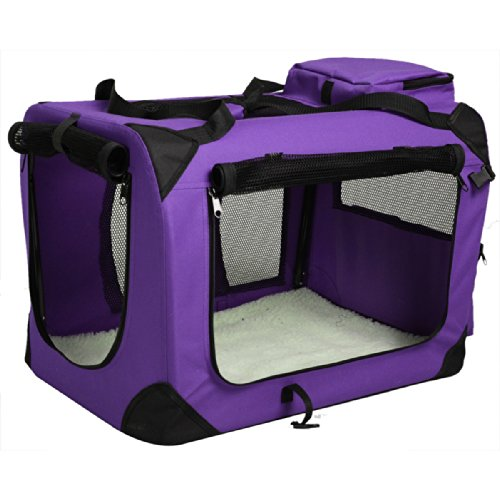 Pet Dog Carrier Portable House Soft Sided Cat Comfort Travel Tote Bag (24x16x16 Inches, Purple)