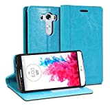 LG G3 Case, GMYLE Wallet Case Simple for LG G3 - Teal Crazy Horse Pattern PU Leather Protective Flip Folio Slim Fit Wallet Stand Case Cover (with Card Slots and Money Pocket)(Not Fit For LG G3 S, Beat and Vigor)