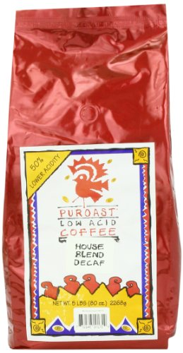 Puroast Low Acid Coffee House Blend Natural Decaf Whole Bean, 5 Pound Bag
