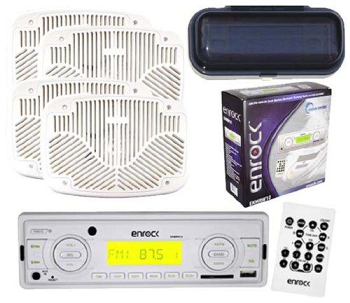 Ekmrw10 Marine Radio Usb Aux Sd Card Input 4 X 6X9 White Speakers Splash Cover