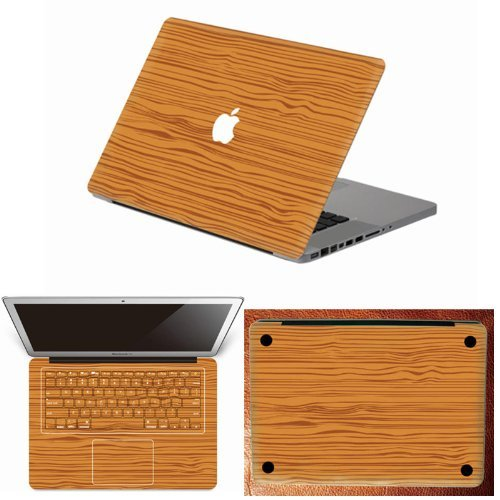 "Fashion Wooden Stripe Style Full Body Art Decal Stickers for MacBook Pro 13.3"" with Glossy Display,Model: A1278, MAC Front Back and Keyboard Skin Decal Stikcers"