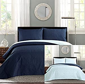 New Queen / Full Bed Luxury 3-piece Navy Blue / Light Blue Reversible Bedspread Coverlet set Solid Embossed Bedding
