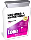 LOVE LIFE Multi-Vitamin & Mineral Support 60 Capsules A Combination of High Quality, Easy to Absorb, Vitamins and Minerals Which Support a Healthy Diet and Lifestyle Vitamins C, B6, B12 and Folic Acid Contribute to the Normal Function of the Immune