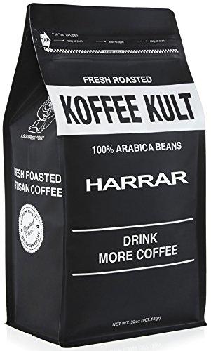 Koffee Kult Ethiopian Harrar Coffee - Whole Bean Coffee- Fresh Gourmet Single Origin - 1 Lb Bag (Whole Bean) - Packaging May Vary (Whole Bean Coffee 1lb compare prices)