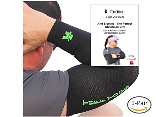 Arm compression sleeve Best base layer brace to support, protect, relieve mild pain & make forearm, elbow, bicep feel better & warmer. Men & women wear to boost circulation (basketball shooter sleeve) (Football Throwing Gloves compare prices)