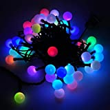 DODOLIGHTNESS 50 RGB Ball LED Color Changing with 16 Feet Linkable Ball String Christmas Xmas Lights Halloween Party Lights