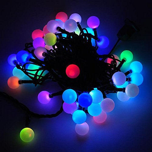 DODOLIGHTNESS 50 RGB Ball LED Color Changing with 16 Feet Linkable Ball String Christmas Xmas ...