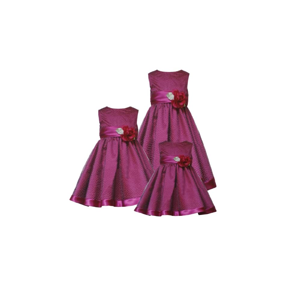 Rare Editions Little Girls 4 6X MAGENTA FLOCK DOT SATIN MESH OVERLAY Special Occasion Wedding Flower Girl Holiday Party Dress 6X RRE 4113H H341130