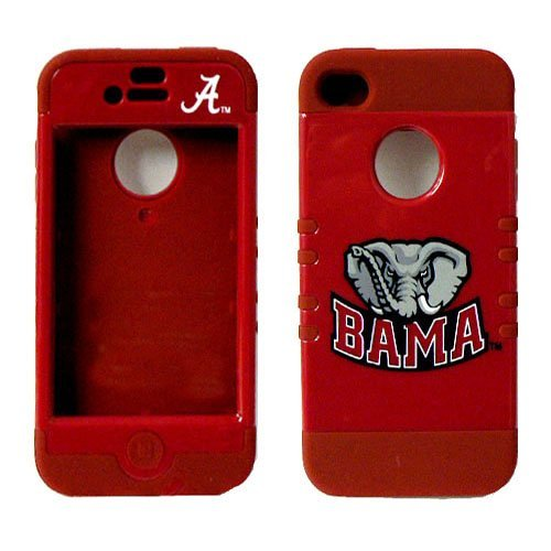 Alabama Crimson Tide NCAA Officially Licensed iPhone 4s, 4 Hybrid Cover. Silicone underneath with Hard shell on the outside. Comes with 2 Pack Precut Screen Guards. at Amazon.com