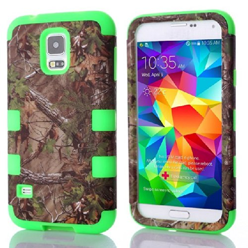 (Case For Galaxy S5/I9600) Bon Venu Camouflage Tree And Leaves Pattern 3 In 1 Design Detachable Silicone & Pc Hybrid Back Skin Cover Case For Samsung Galaxy S5 / Galaxy Sv / Galaxy S V / Galaxy I9600+Screen Protector (Pattern 2) front-850941