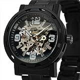 ESS Men's Black Luxury Stainless Steel Skeleton Semi-Automatic Mechanical Watch WM235-ESS