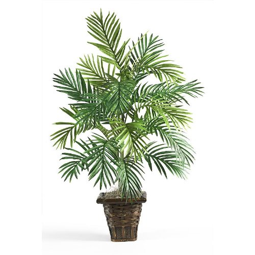 New Nearly Natural Areca Palm w/Wicker Basket Colorful Ornamental Leaves Delicate Stems Charming