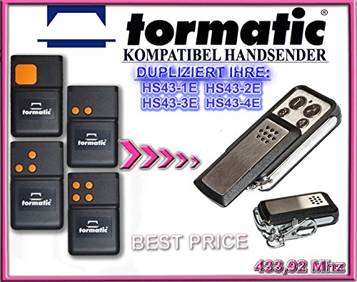 TORMATIC - HS43-1 / HS43-2 / HS43-3 / HS43-4 . 433.92 MHz Kompatibel Handsender, Ersatz sender (Fixed code)
