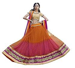Sheknows Orange & Pink Net Embroiderd Lehenga Choli