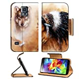 Samsung Galaxy S5 young indian woman wearing a gorgeous feather headdress with wolves IMAGE 36963542 by MSD Customized Premium Deluxe Pu Leather generation Accessories HD Wifi Luxury Protector