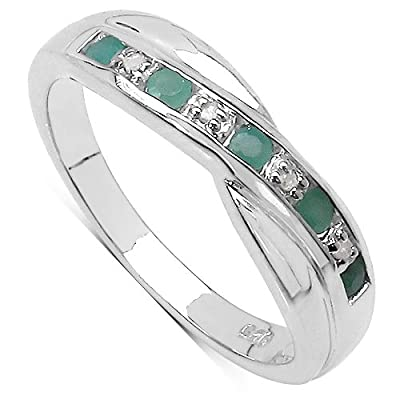 The Emerald Ring Collection: Channel Set Emerald & Diamond Crossover Eternity Ring in Sterling Silver