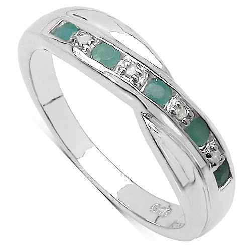 The Emerald Ring Collection: Beautiful Channel Set Emerald & Diamond Crossover Eternity Ring in Sterling Silver