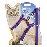 (イーエフイー)EFE 猫ちゃんハーネス 猫用リード ロープ着き ナイロン製 耐久性 ハーネス調節可能 簡単設置 散歩 6色 ワンサイズ ロープ長さ/117cm 幅/1cm パープル ワンサイズ