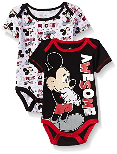 Disney Baby Boys' Mickey Mouse Adorable Soft Two-Pack Bodysuits, Awesome Black, 3-6 Months