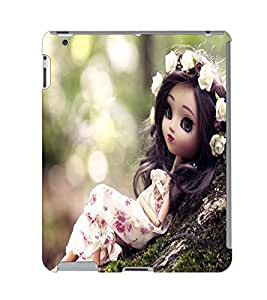 Fuson 3D Printed Cute Doll Designer Back Case Cover for Apple iPad 6 - D730
