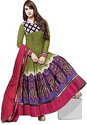 Jinaam Dress Women Cotton Dress Material (Jd-8320B _Green & Pink)
