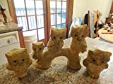 Hand Crafted Vintage 5 Owl Family Figurines 1950 Made in Phillipines