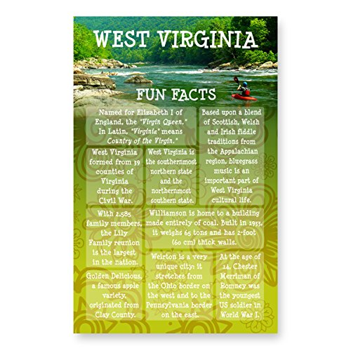 WEST VIRGINIA FUN FACTS postcard set of 20 identical postcards. US state trivia post card pack. Made in (Stores In West Virginia)