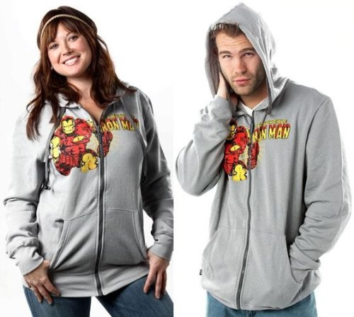 Iron Man Gray Marvel Hoodie Buddie Sweatshirt Earbuds (Large)