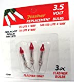 Pack of 3 Clear Flasher Push-In Mini Replacement Christmas Light Bulbs 3.5 Volt