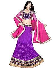 Lehenga Choli Women's Net Semi-Stitched with Un-Stitched Blouse (1006Purple_Light Purple)