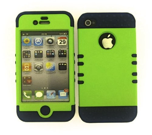 Shockproof Hybrid Cell Phone Cover Protector Faceplate Hard Case And Dark Blue Skin With Mini Stylus Pen. Kool Kase Rocker For Apple Iphone 4 4S Green Db-A008-Pd