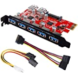 Inateck Superspeed 7 Ports PCI-E to USB 3.0 Expansion Card - Interface USB 3.0 5-Port & 2 Rear USB3.0 Port Express Card Desktop with 15 pin SATA Power Connector [ Include with A 4pin to 2x15pin Cable + A 15pin to 2x 15pin SATA Y-Cable ]