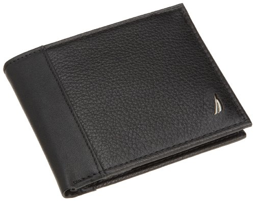 Nautica Men's Milled Passcase Wallet,Black,One Size